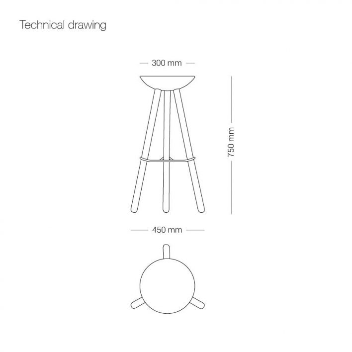 Ubikubi Tribut Chair technical drawing